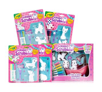 Scribble Scrubbie Color & Wash Collectible Toy Pets, All-in-One Set front view