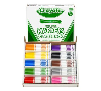 200 Count Crayola Fine Line Markers Classpack Front View Open Box