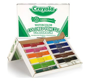 240 Count Watercolor Pencils Classpack, 12 Colors Box Open