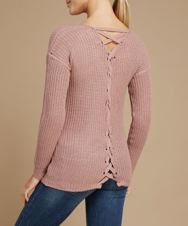 971af7898a lace up back popover sweater - wb