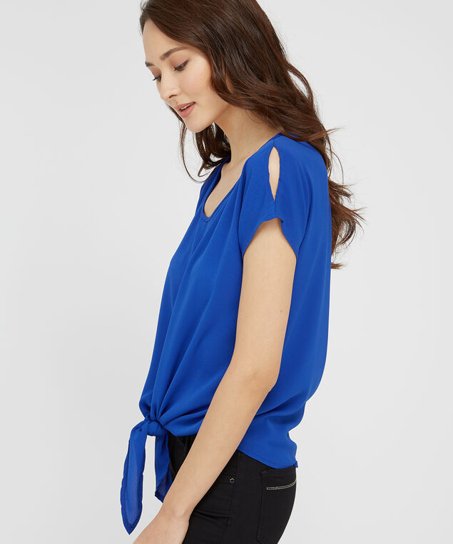 4b426a0185eac5 ... tie front top with slit shoulder - wb