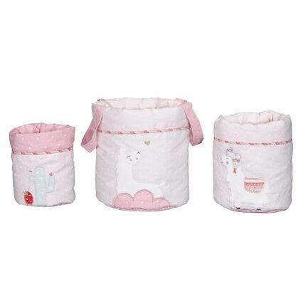 Lot de 3 panières gigognes - Mila blanc/rose
