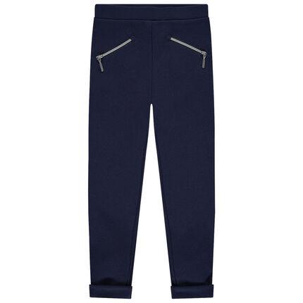 Jegging en milano à bandes et poches zippées 3 ans bleu foncé
