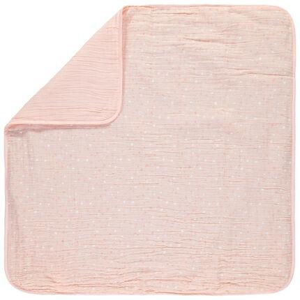 Couverture imprimée étoiles en tétra 80 x 80cm rose clair