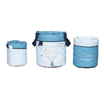 Lot de 3 panières gigognes - New Lazare bleu/blanc
