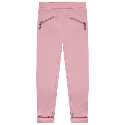 Jegging en milano à bandes et poches zippées 3 ans rose moyen