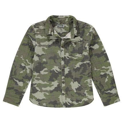 Junior - Chemise motif army all-over en coton double face 12 ans vert foncé
