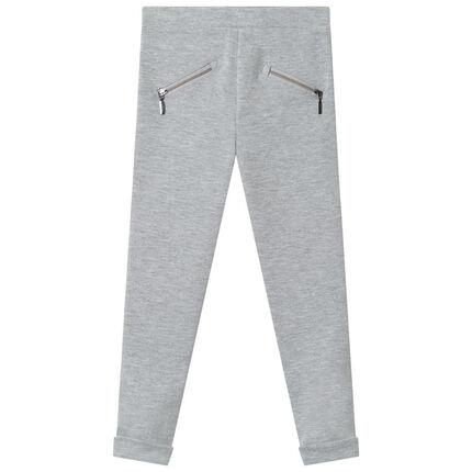 Jegging en milano à bandes et poches zippées 3 ans gris moyen