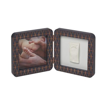 Cadre photo empreinte My baby touch 2 volets - Gris/bronze