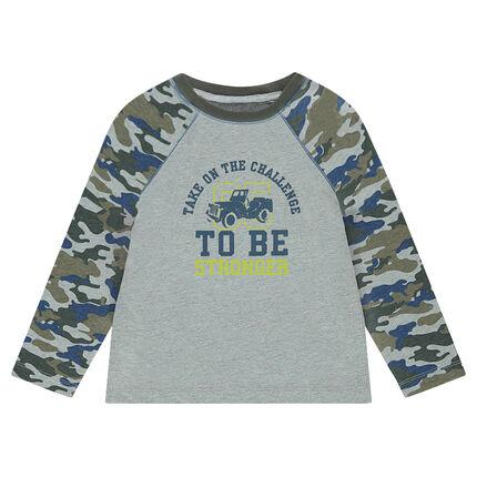 Tee-shirt manches longues motif army avec print sur le devant 3 ans gris moyen