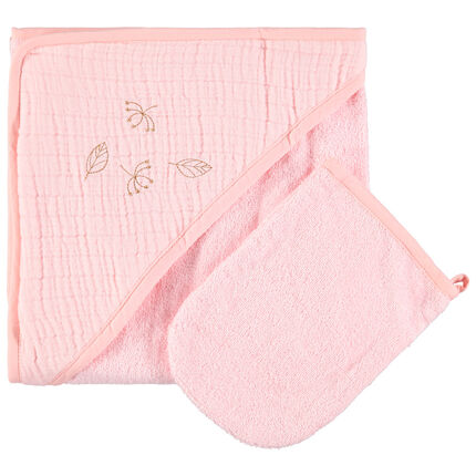 Set de bain en éponge et tétra à feuilles brodées rose clair