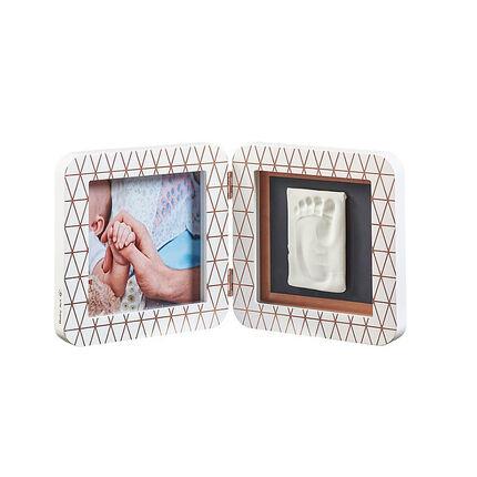 Cadre photo empreinte My baby touch 2 volets - Blanc/bronze