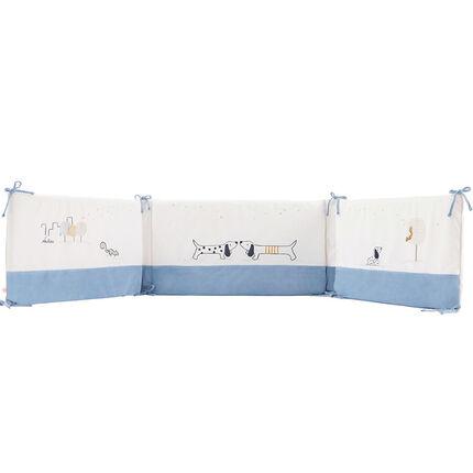 Tour de lit en Veloudoux® - Aston & Jack bleu/ecru