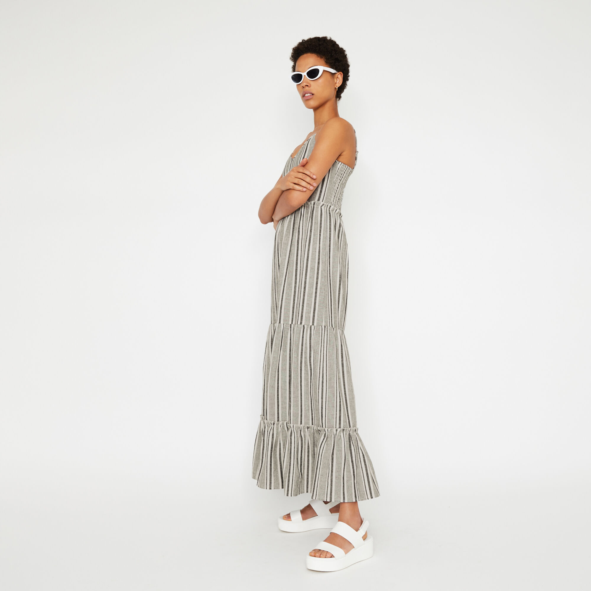 Warehouse, STRIPE TIERED MAXI DRESS Neutral Stripe 1