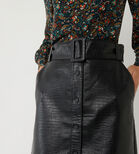 Warehouse, FAUX CROC BELTED MINI SKIRT Black 4