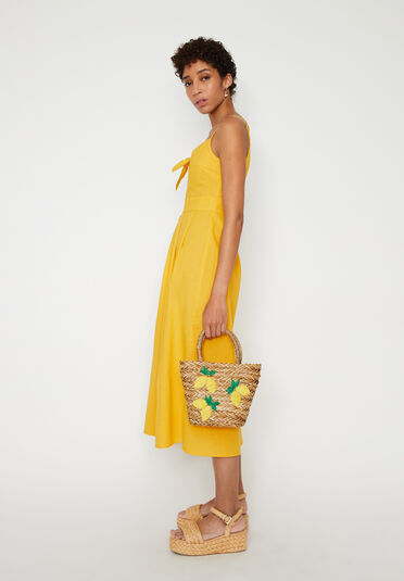 Warehouse, LINEN MIX TIE FRONT MIDI DRESS Yellow 1