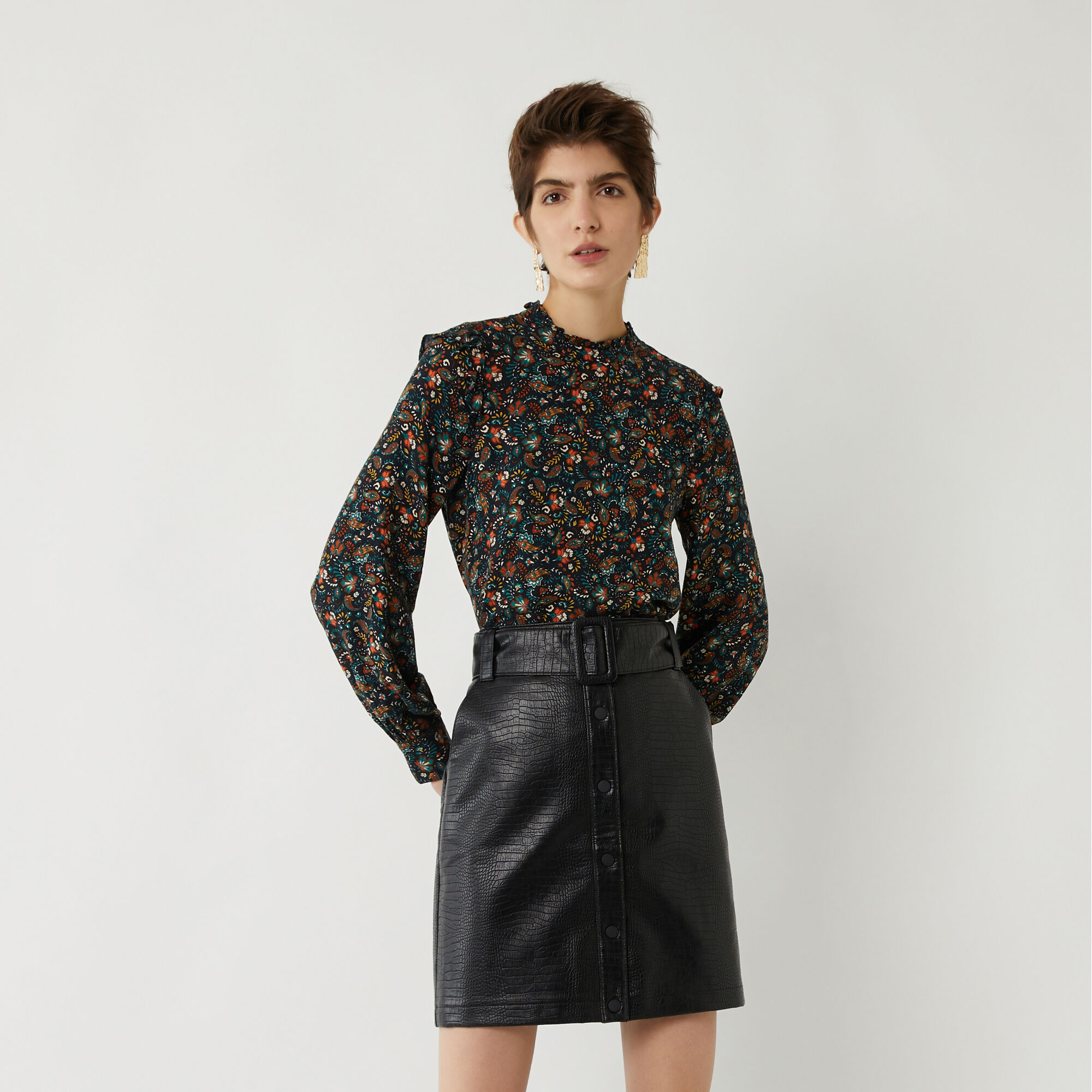 Warehouse, FAUX CROC BELTED MINI SKIRT Black 1