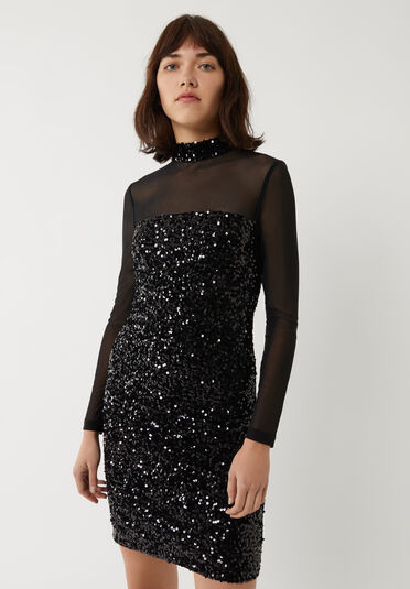 Warehouse, VELVET SEQUIN MESH MINI DRESS Black 2