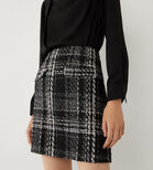 Warehouse, CHECK SPARKLE TWEED MINI SKIRT Black Pattern 2
