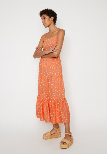 Warehouse, SPOT TIERED MAXI DRESS Coral 2