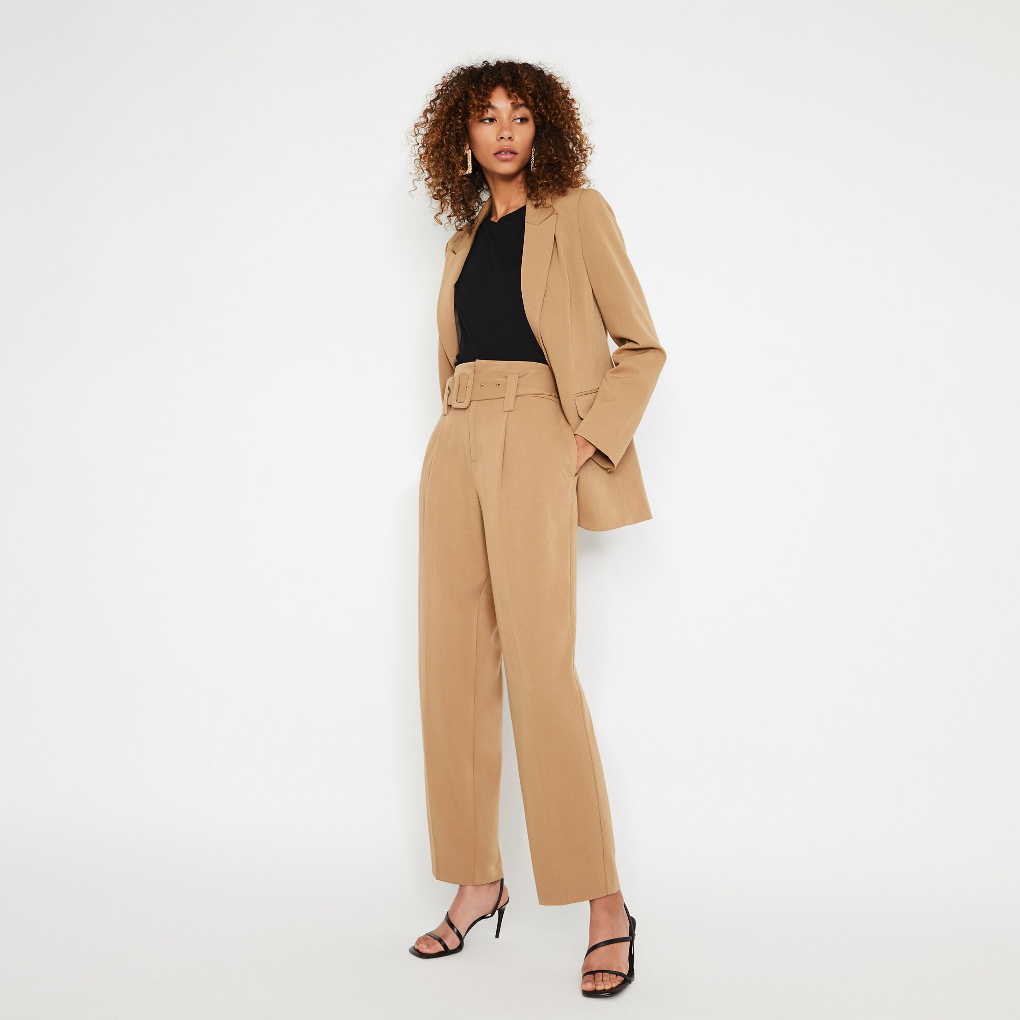 Warehouse, COVERED BUCKLE PEG TROUSER Camel 1