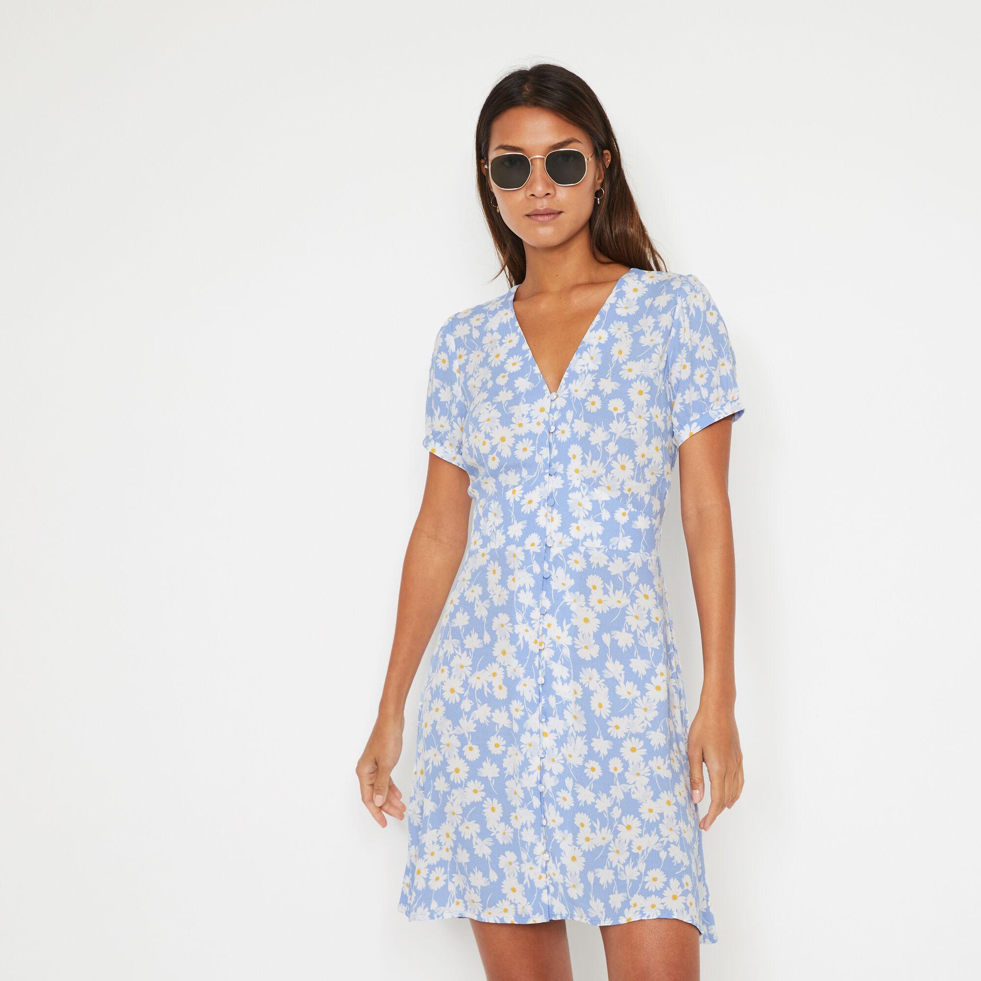 Warehouse, DAISY MINI TEA DRESS Blue Pattern 1