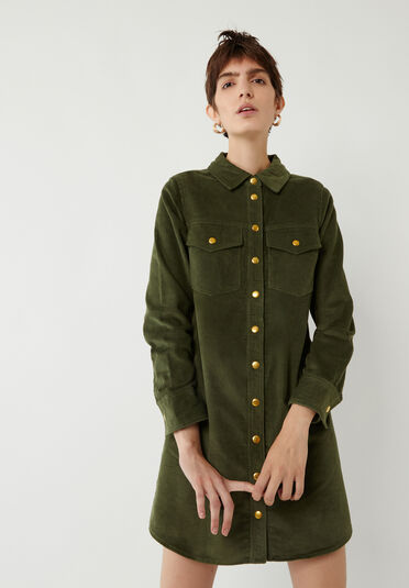 Warehouse, CORD MINI SHIRT DRESS Light Green 2