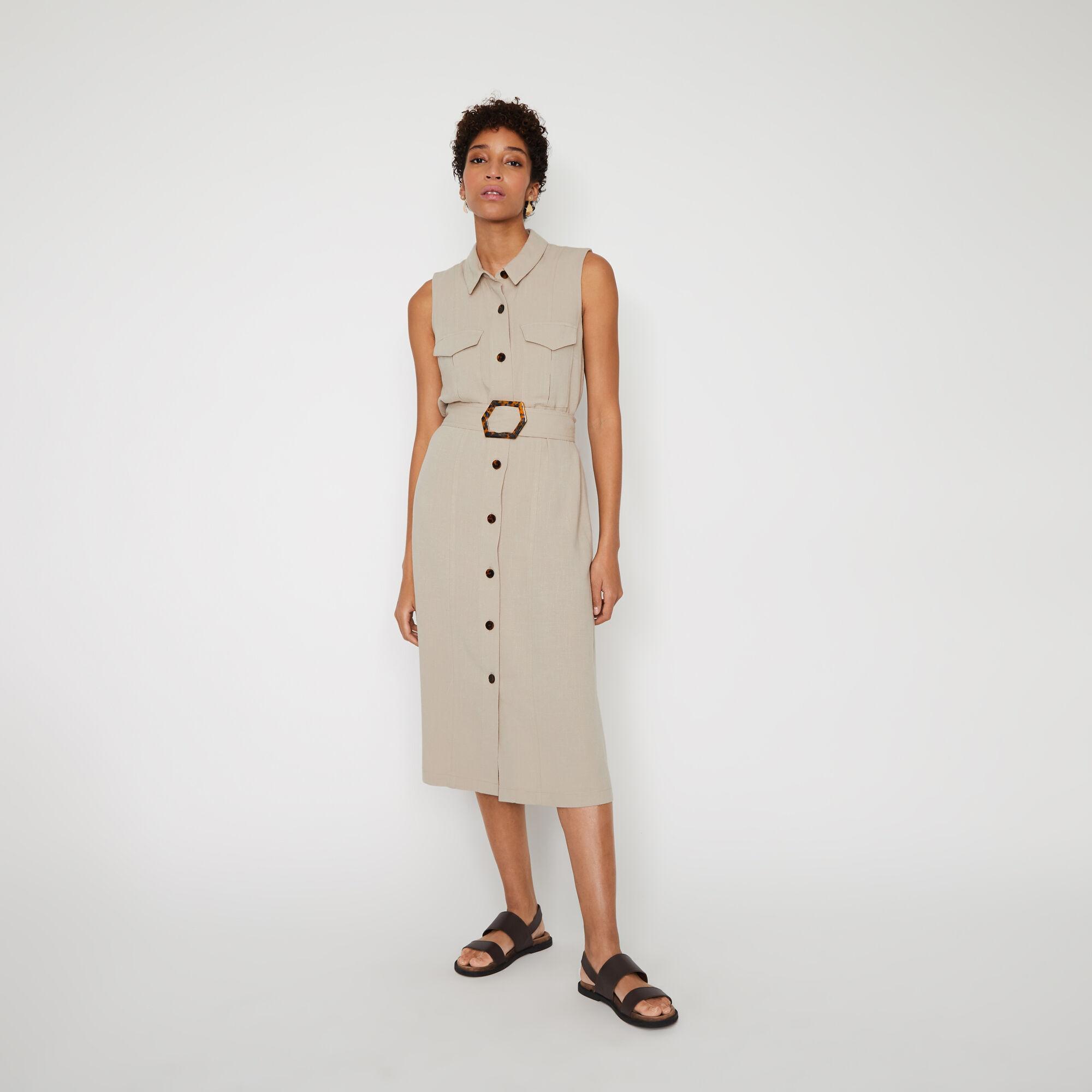 Warehouse, LINEN BUCKLE MIDI SHIRT DRESS Stone 1