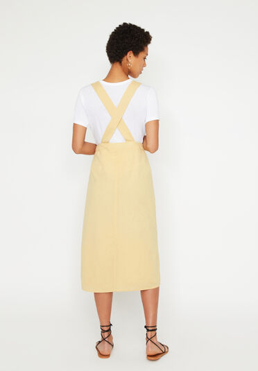 Warehouse, LINEN MIDI PINAFORE DRESS Lemon 2
