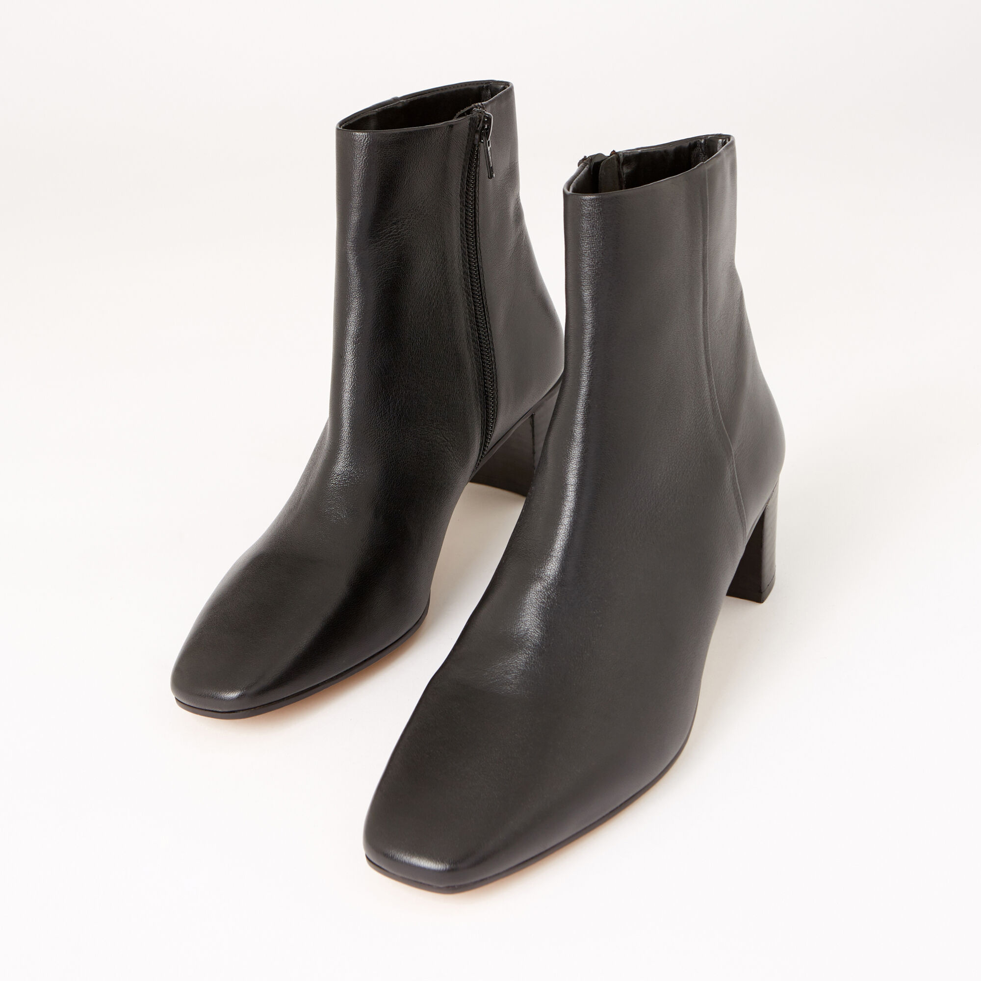 Warehouse, LEATHER SQUARE TOE ANKLE BOOTS Black 1