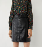 Warehouse, FAUX CROC BELTED MINI SKIRT Black 2