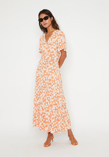 Warehouse, DAISY TIERED MAXI DRESS Orange 2