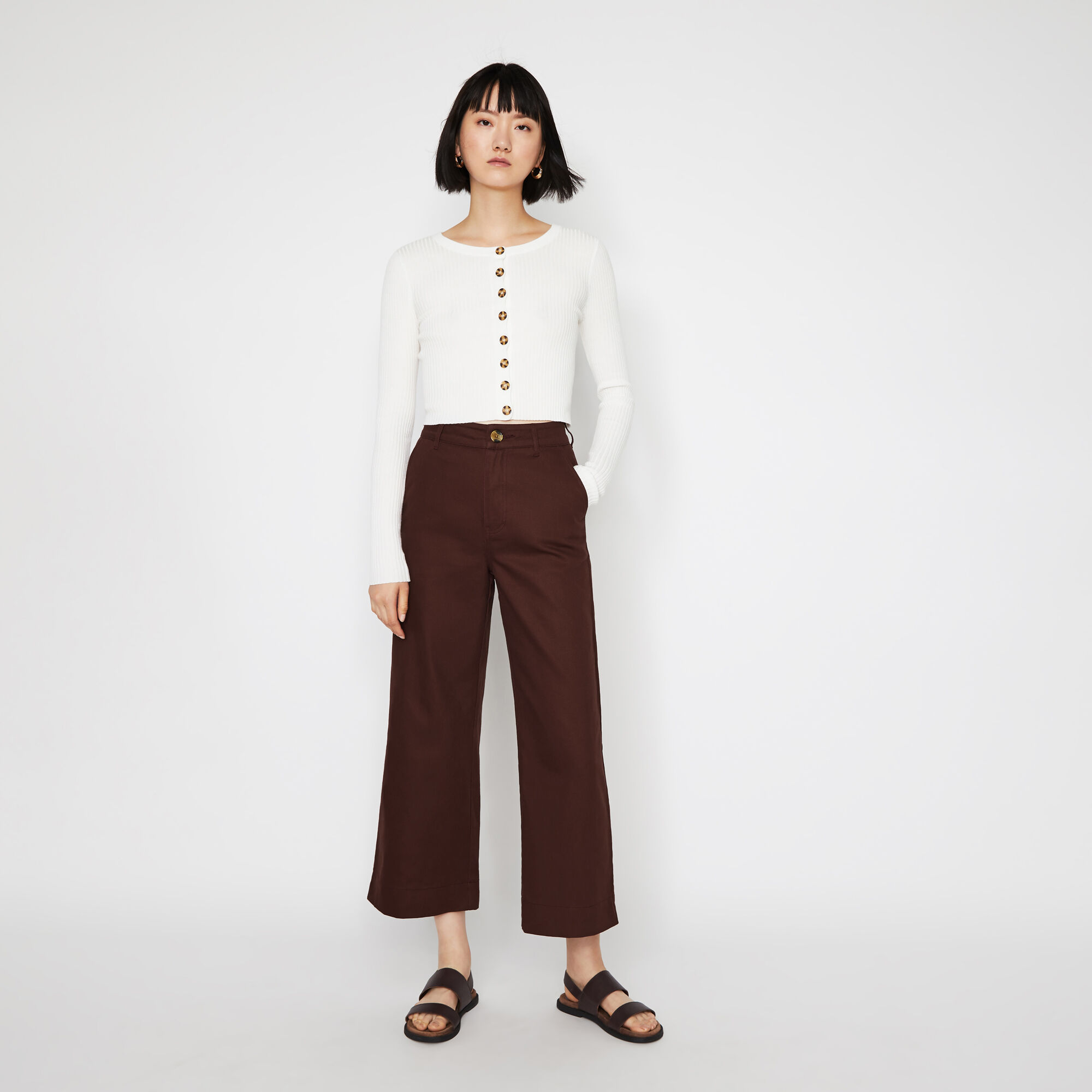 Warehouse, CASUAL WIDE LEG TROUSERS Berry 1