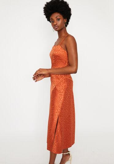 Warehouse, LEOPARD CAMI MAXI DRESS Orange 2