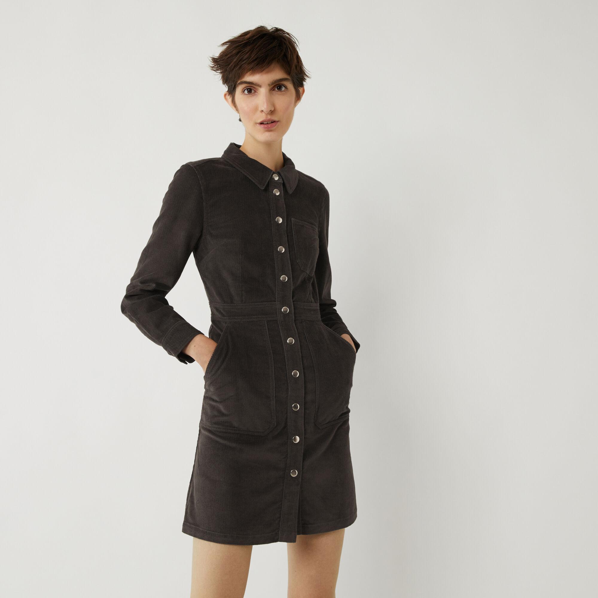 Warehouse, CORD SNAP FRONT DRESS Dark Grey 1