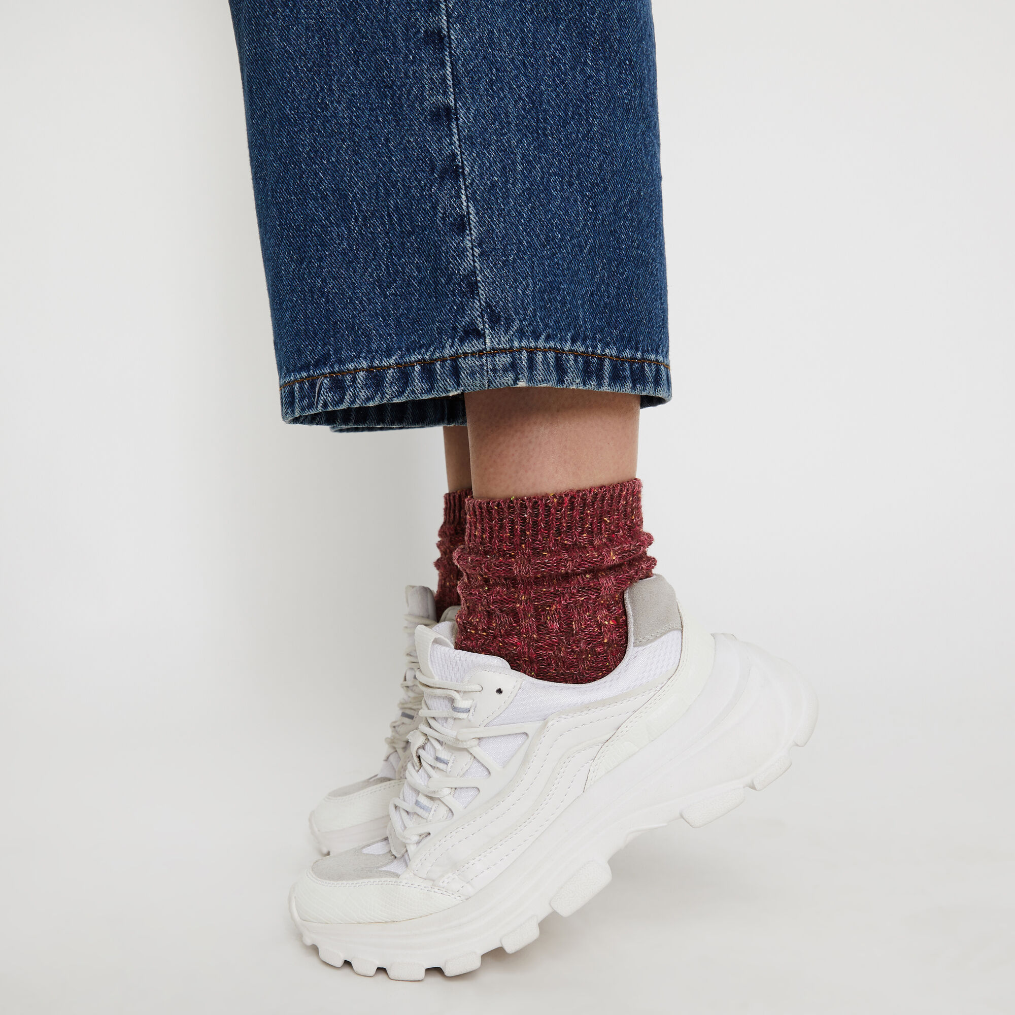 Warehouse, FLECKED CABLE KNIT SOCKS Berry 1