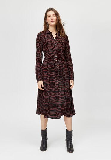 Warehouse, TIGER O-RING MIDI SHIRT DRESS Brown Print 1