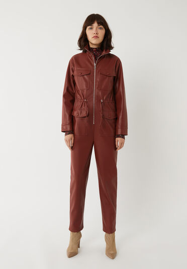 Warehouse, FAUX LEATHER BOILERSUIT RUST 1