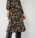 Warehouse, AUTUMN DAISY TIERED MIDI DRESS Neutral  Print 4