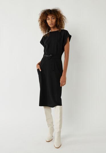 Warehouse, BUTTON SOFT MIDI SHIFT DRESS Black 1