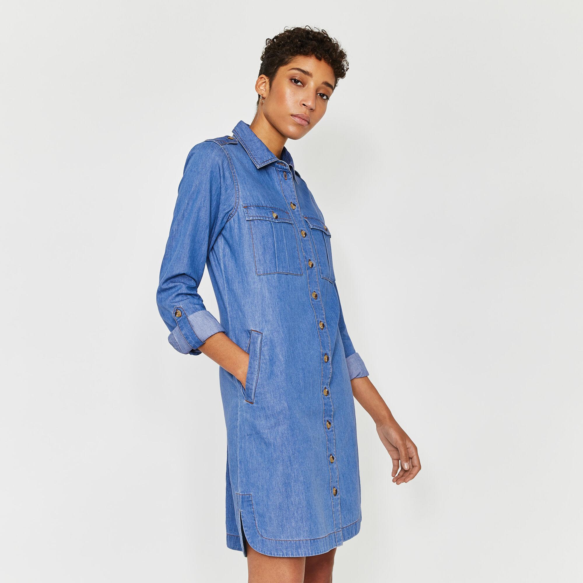 Warehouse, UTILITY DENIM MINI SHIRT DRESS Light Wash Denim 1