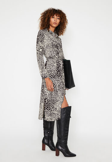 Warehouse, MIXED ANIMAL MIDI SHIRT DRESS Black Pattern 1