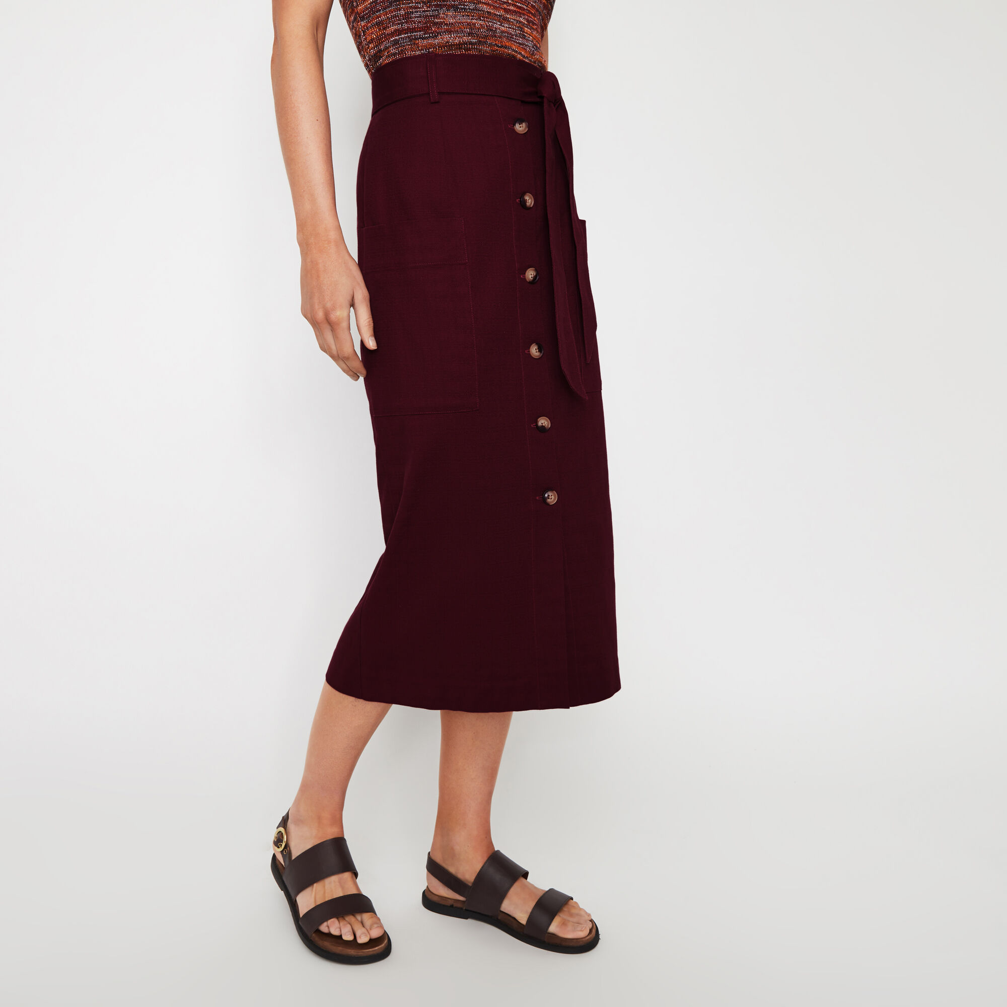 Warehouse, BUTTON THROUGH PENCIL SKIRT Dark Red 1