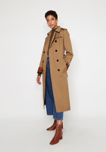Warehouse, CHECK LINED TRENCH COAT Stone 2