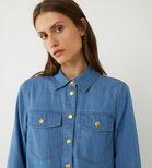 Warehouse, DENIM MINI SHIRT DRESS Mid Wash Denim 4