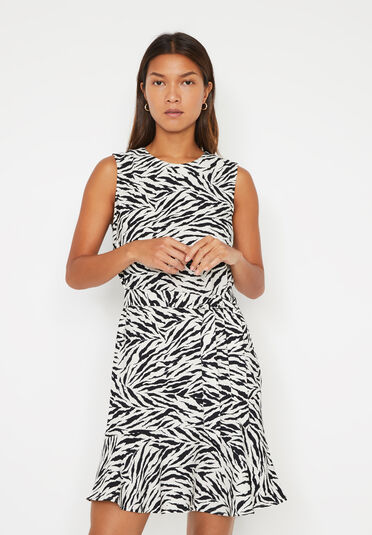 Warehouse, ZEBRA PRINT FLIPPY MINI DRESS Zebra 2