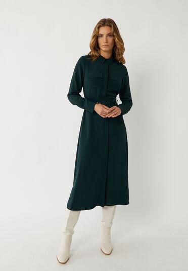 Warehouse, BELTED MIDI SHIRT DRESS Dark Green 2