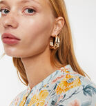 Warehouse, CHUNKY PEARL HOOP EARRINGS Gold Colour 1