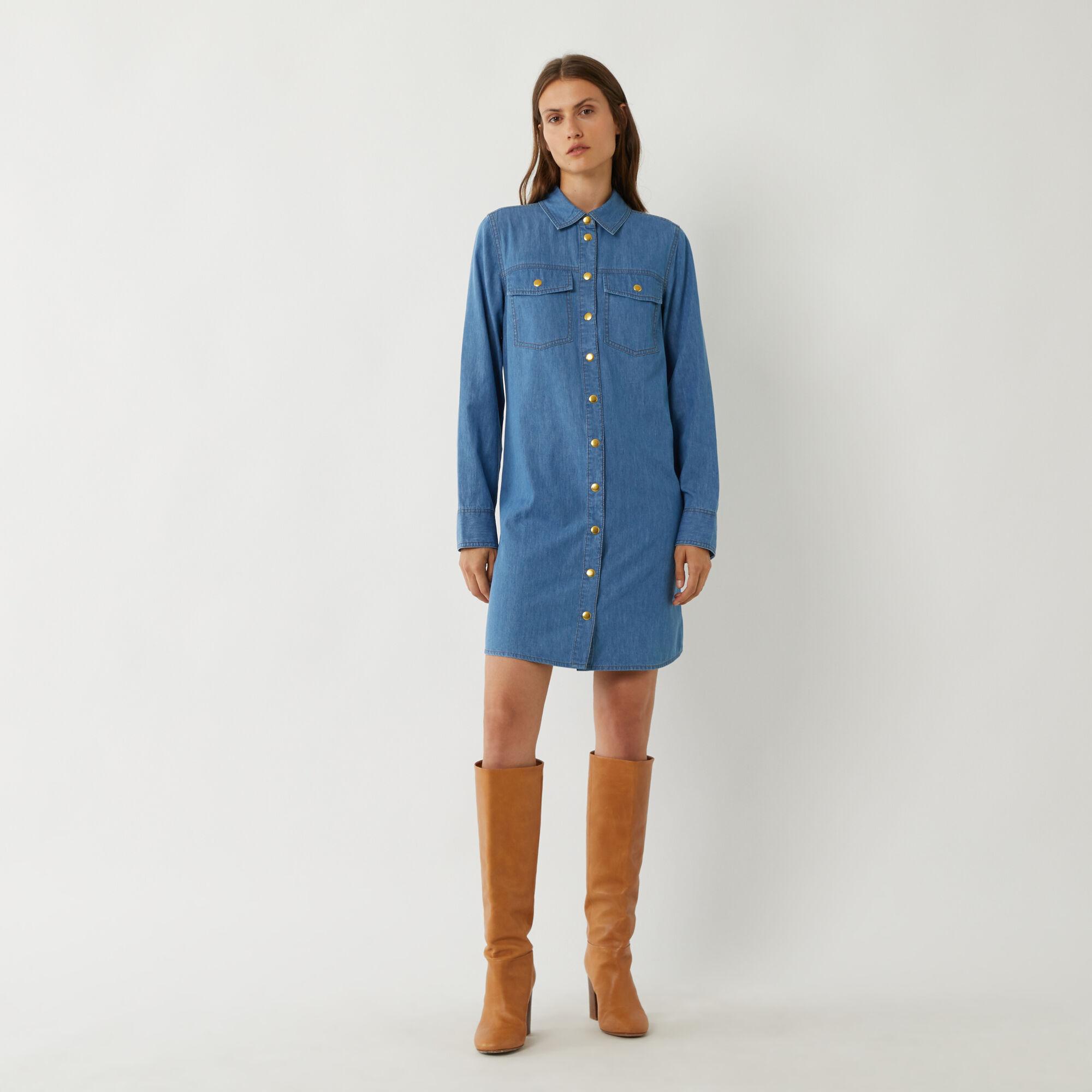 Warehouse, DENIM MINI SHIRT DRESS Mid Wash Denim 1