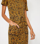 Warehouse, ANIMAL MIDI T-SHIRT DRESS Yellow 4
